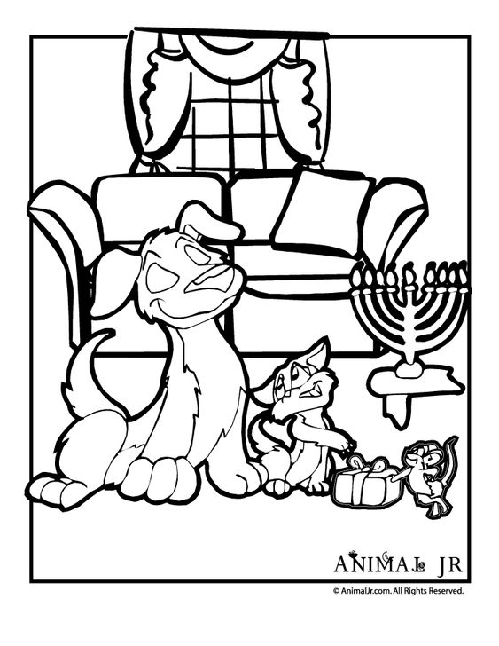 hanukkah coloring page with cat  dog  u0026 mouse