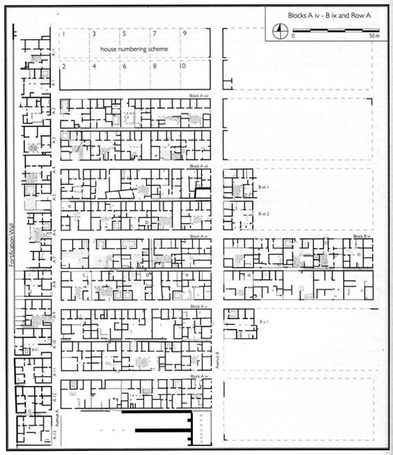 """Olynthos_Greece_432 BC _Homogeneity to Isonomia (– everyone equal before the law –)_""""standardized"""" with fixed size (with the exception of the blocks and houses abutting on the fortification walls)"""