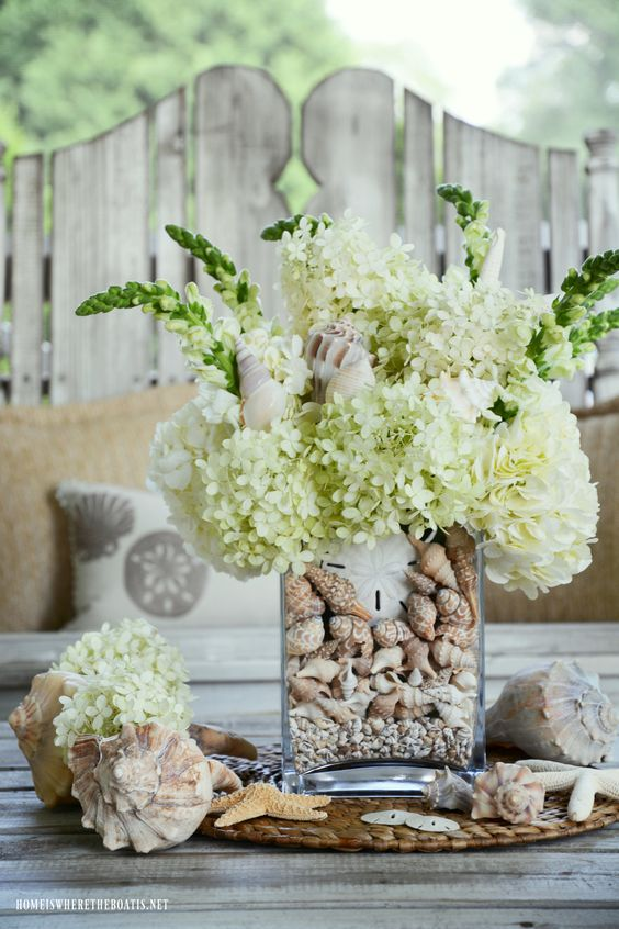 DIY Summer Flower Arrangement with Seashells and Hydrangeas – Home is Where the Boat Is