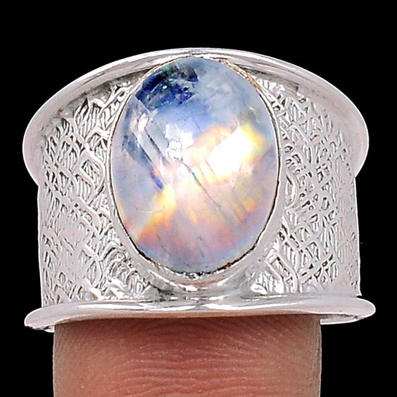 Rainbow Moonstone 925 Sterling Silver Ring Jewelry s 8 SR101602 | eBay