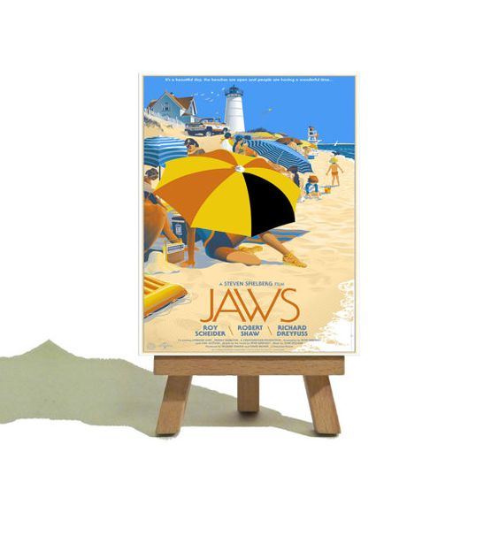 JAWS - Beautiful Mondo Miniature Canvas and Easel Set - The Perfect Gift