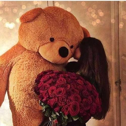 girl, bear, and roses perfect❤