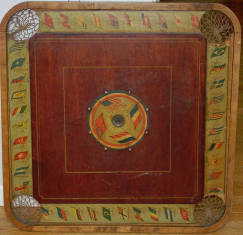 Antique Carrom Archarena Combination Game Board Flags Of The