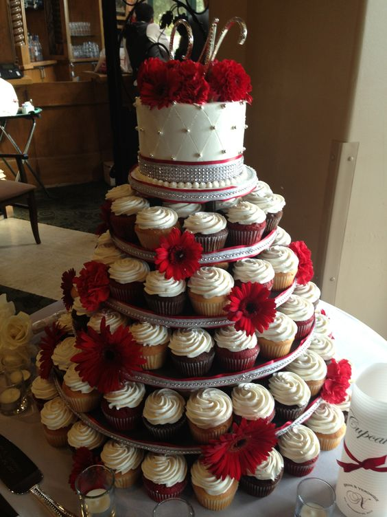 Cupcake Tower With Rhinestone Ribbon And Red Gerber