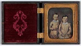 Untitled (Two Brothers in Identical Dress)  1850s     Unidentified   sixth plate daguerreotype     2 3/4 x 3 1/4 in. (7.0 x 8.3 cm)     Smithsonian American Art Museum     Gift of Charles Isaacs and Carol Nigro     2000.83.12
