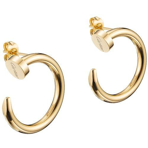 Por Cartier Juste Un Clou Twisted Nail Shaped Yellow Gold Plated Hoop Earrings