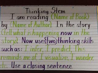 Thinking Stems for reader's response