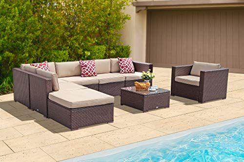 Patiorama Outdoor Furniture Patio Furniture Sectional Sofa Set 8