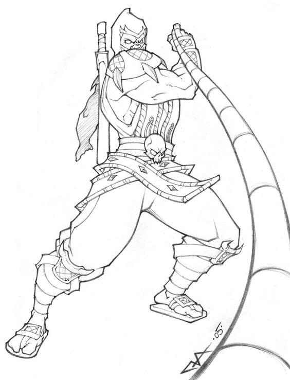 Mortal kombat scorpion coloring pages coloring pages for Scorpion coloring page