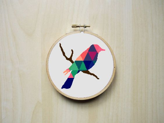 Modern Counted Cross Stitch Pattern   Colourful Patterned Bird Silhouette   Instant Download PDF