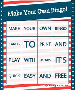 Myfreebingocards Com Free Custom Bingo Card Generator Bingo Card Generator Free Bingo Cards Custom Bingo Cards