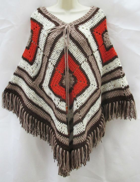 Vintage Retro Hand Crafted Ethnic Brown Burnt Orange Crochet Poncho Cape Hippy