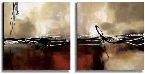 <br><li>Add contemporary design to your home or office decor<li>Canvas art set titled Symphony in Red<li>Includes both Symphony in Red I