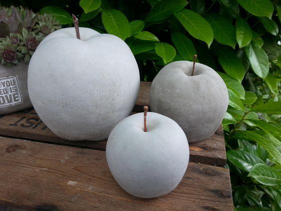 Apfel aus Beton in verschiedenen Größen von Feinbeton auf DaWanda - Gartendeko Aus Beton Selbstgemacht