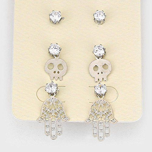 3-Pairs Crystal Cubic Zirconia CZ Skull & Hamsa Hand Stud Earring Set / AZERFH487-SCL-HAL Arras Creations http://www.amazon.com/dp/B015N66F4A/ref=cm_sw_r_pi_dp_zTbdwb14P9G5K