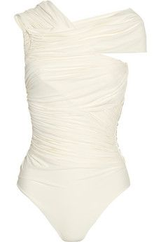 Clube Bossa Couture asymmetric ruched swimsuit NET-A-PORTER.COM - StyleSays
