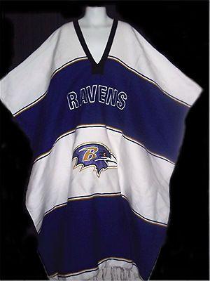 NFL Football BALTIMORE RAVENS Mexican PONCHO Purple White SERAPE ...