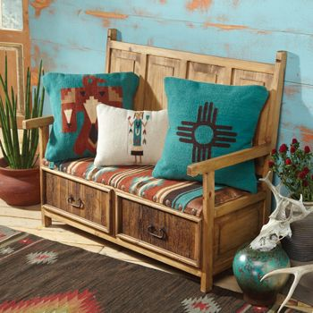 Colorful Southwestern pillows and upholstered bench. NEW MEXICO.
