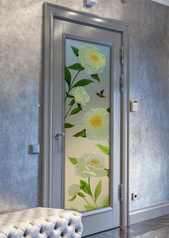 Interior Frosted Glass Door Featuring The Peonies Design In The 3d