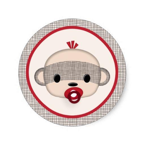 SOCK MONKEY Baby Shower Crib Seal Round BOY