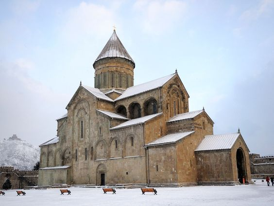 """Historical Monuments of Mtskheta, Georgia - The former capital of Georgia has three picturesque, clifftop medieval churches. Sadly, lack of preservation and unaddressed deterioration of the architecture and artwork have landed this site on UNESCO's """"at-risk"""" list. —Lianna Trubowitz"""