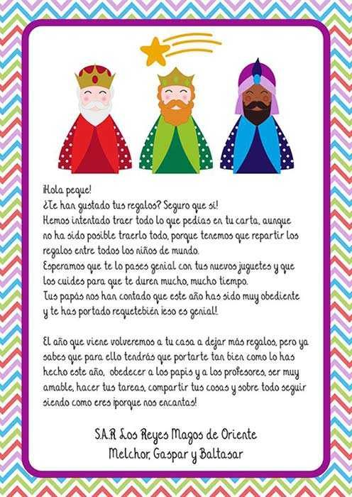 Carta De Los Reyes Magos A Los Niños Cartas Reyes Magos