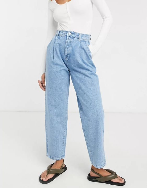 ASOS DESIGN organic denim pleat front peg trouser in lightwash