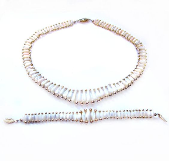 Vintage Necklace & Bracelet, Mother of Pearl Beads