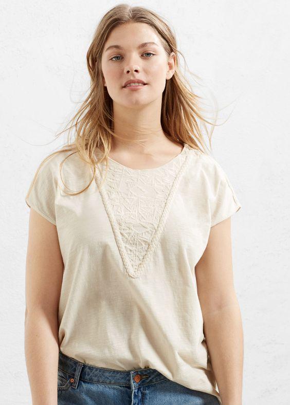 Baumwoll-t-shirt mit stickerei | VIOLETA BY MANGO
