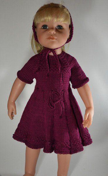 Puppenkleidung - Puppenkleid handgestrickt für 48 cm Puppe - ein Designerstück von Monikas-Puppenmode bei DaWanda