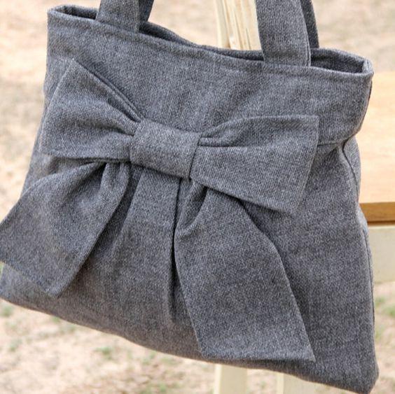 Diaper Bag / Book Bag / Purse Medium Gray  by peacelovenpolkadots, $60.00: