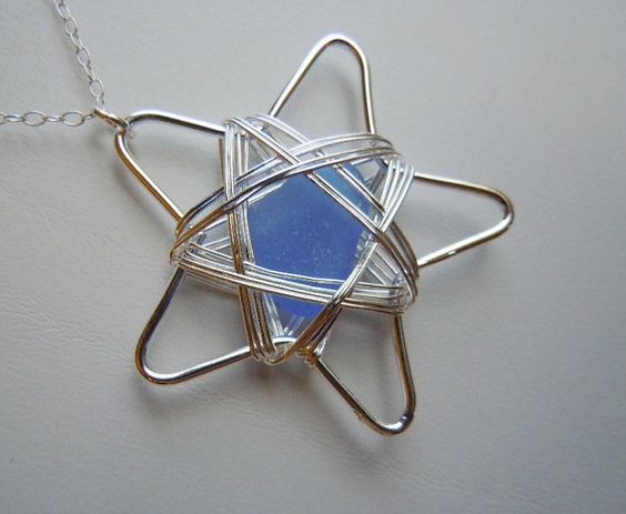 Starry Night Blue Sea Glass Seaglass  Star Wire Wrapped Necklace