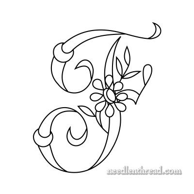 Monogram for Hand Embroidery: F via Mary Corbet