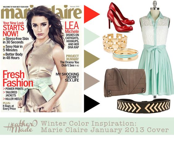 winter color inspiration. lea michele. red. gold. mint green. taupe. black
