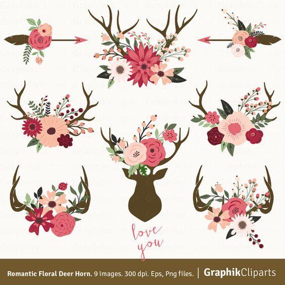Romantic Floral Deer Horn. Deer Horn Rustic por Graphikcliparts