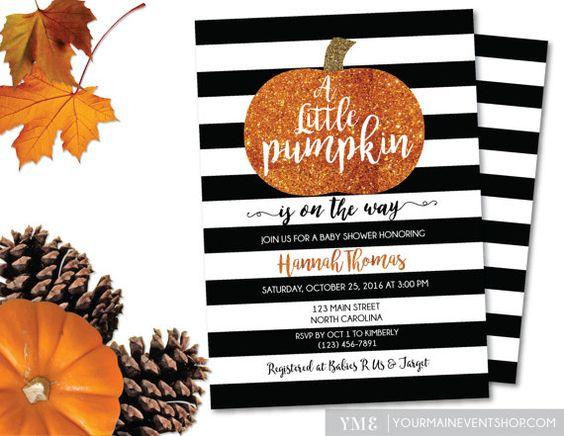 Little Pumpkin Baby Shower Invitation • Fall Autumn A Little Pumpkin Is On The…