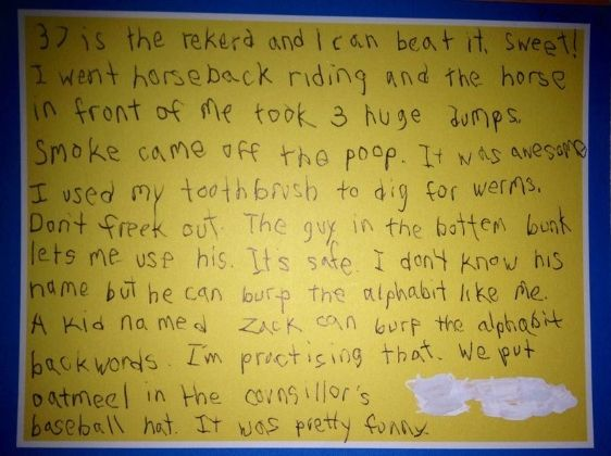 Letter From Kid At Camp Scarymommy This Whole Letter Is