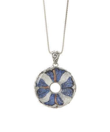 $99.99 Love this Gemstone & Sterling Silver Flower Pendant Necklace on #zulily! #zulilyfinds