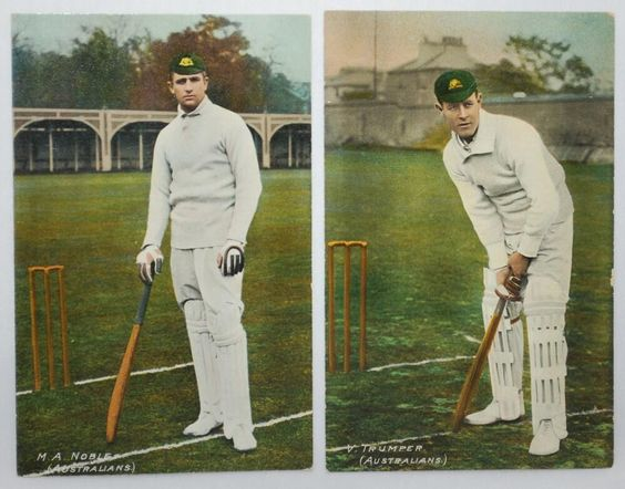Victor Trumper & Monty Noble. Two excellent colour postcards of Australian cricketers Trumper and Noble.