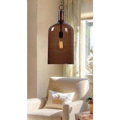 Retro 1 Dining Room Light Chandelier Pendant Fixture Blown Amber Glass
