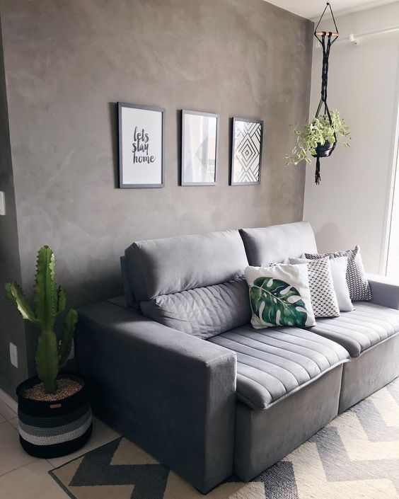 sofá, cinza, conforto,