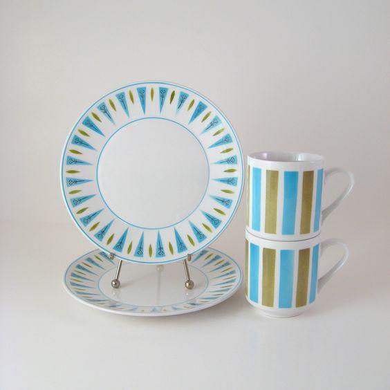 Vintage snack set mikasa cera stone blue point and tivoli dinnerware dishes 1960 39 s 1970 39 s - Tivoli kitchenware ...