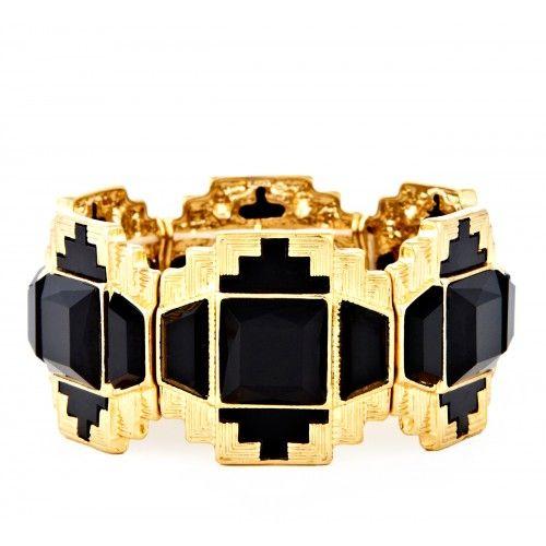 Deco Stone Bracelet  - Black