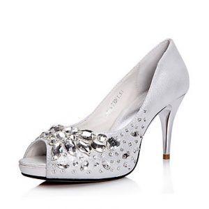 Zapatillas plateadas con blanco para novias 3