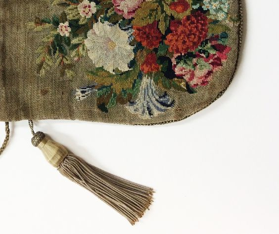Petit point bag, 19th century http://www.embroiderersguild.com/