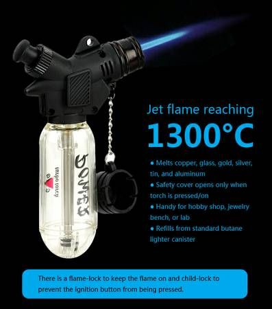 for jewelry making :)  Refillable Butane Mini Torch Flame Heats to 2300+ F / 1300+ C - Melts all Precious Metals!!! Brand New Refillable Windproof Adjustable Flame Constant Flow Lock Practically UNBREAKABLE! Superior Build