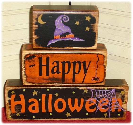 Happy Halloween Tips On Home Decoration 1: Primitive Happy Halloween Witch Bat Shelf Sitter Wood