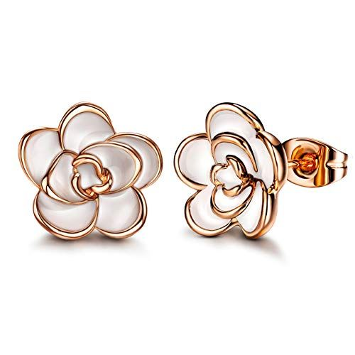 Allencoco 18k Gold Plated Black Rose Flower Stud Earrings For Women In 2020 Flower Earrings Studs Black Rose Flower Rose Gold Earrings Studs