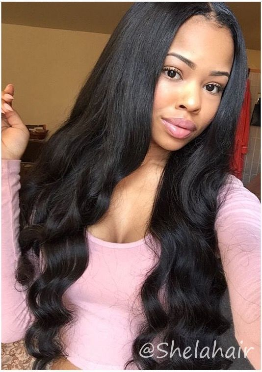 Middle Part Sew In Body Wave : middle, Www.shelahair.com】Peruvian, Short, Middle, Quality, Loose, Waves, Hair,, Weave,
