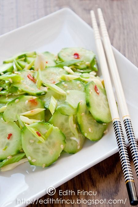 Cucumber salad, Spicy and Rice vinegar on Pinterest